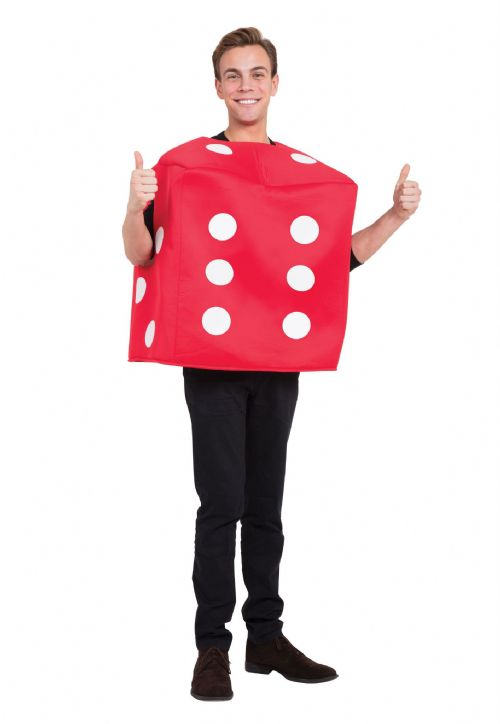 Adults Poker Dice Costume Red Gambling Vegas Cards Fancy Dress Outfit